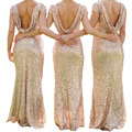 Long Bridesmaids Gold full dress high-end sequins Floor Length wedding Mermaid Formal dress Backless dress Women Party Gowns