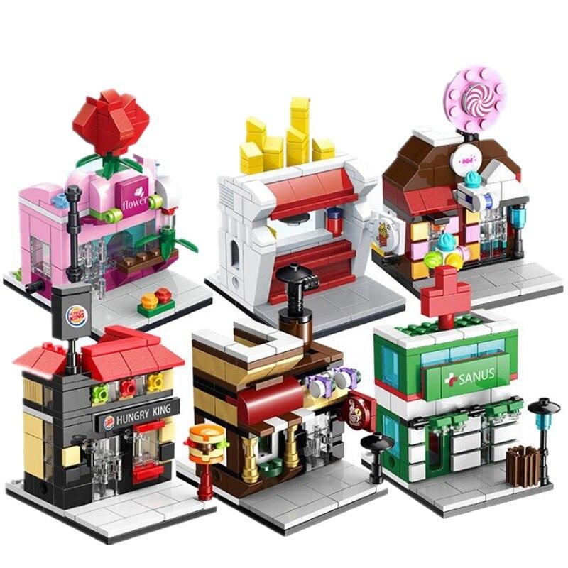 Mini Rua Modelo Blocos de Construção Conjunto de Brinquedos Para Crianças Brinquedo Casa Pequena Mini Cidade Bloco Loja Modelo Brinquedos Juguetes Oyuncak
