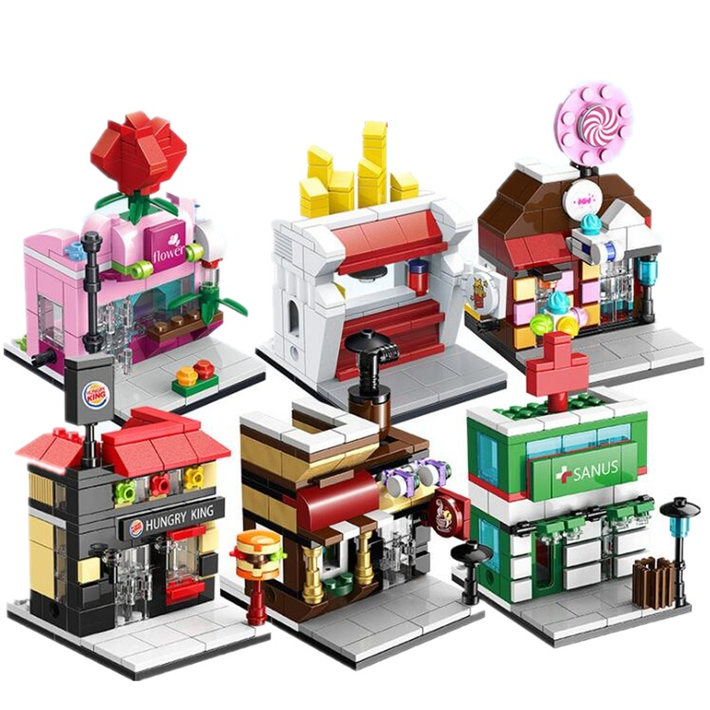 Mini Street Model Building Blocks set Small House Toy Mini City Block Store Model Architecture Food City Square Block Brick loz mini block architecture city view scene christmas toy for children mini street model store shop bridal assembly toys 1636