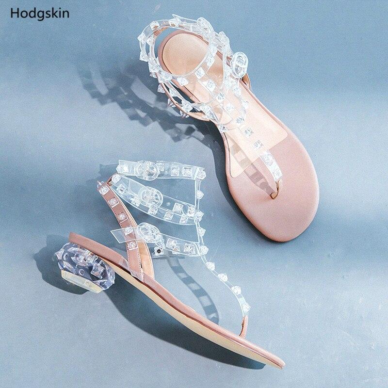 Hodgskin Moda Estilo As Claro Marca Tobillo Stud Zapatos Gruesos Sandalias Pic Las Mujeres Hebillas 2018 Remaches Calle Diseñador Mujer De Tacones O88pwqX