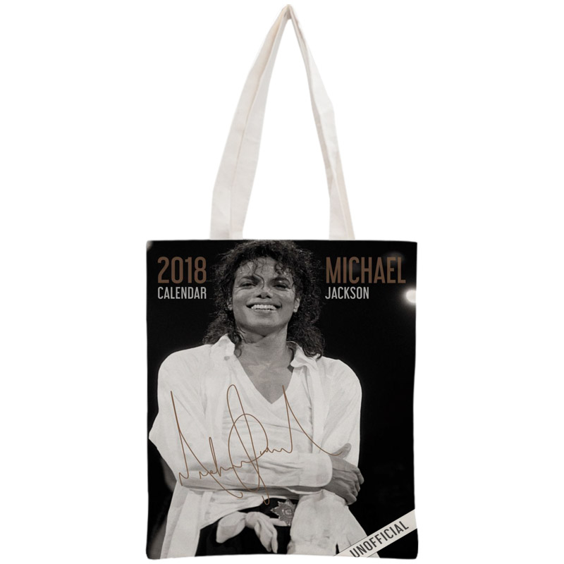 Custom Michael Jackson Tote Bag Reusable 30x35cm Two Sides Handbag Shoulder Pouch Foldable Canvas Shopping Bags