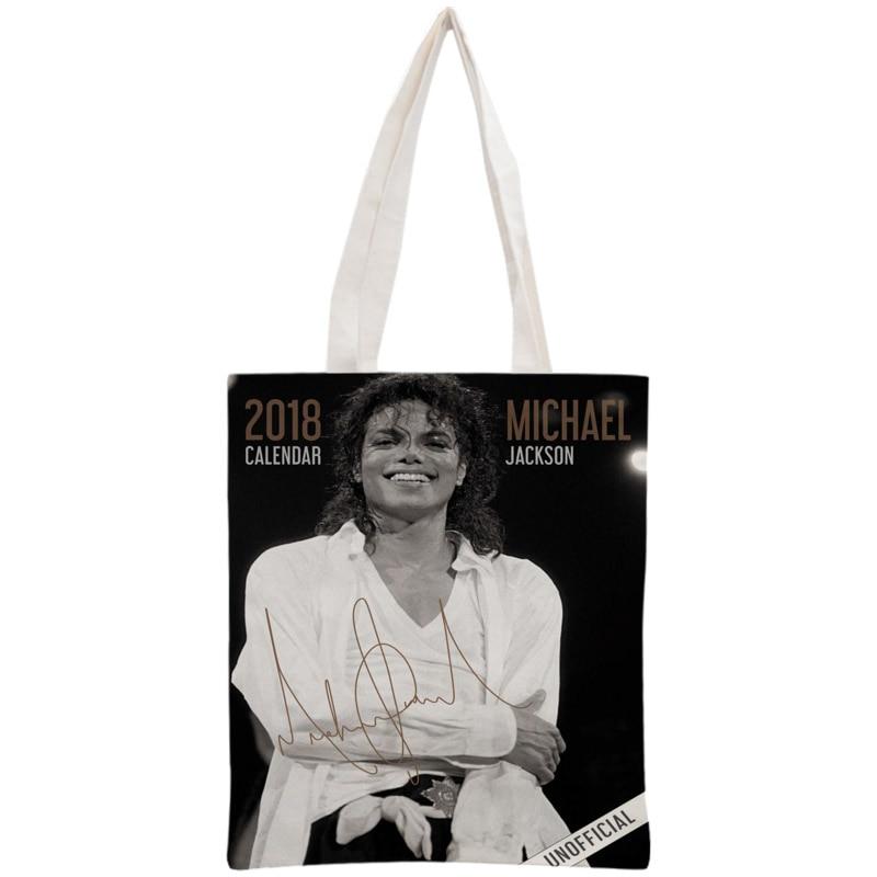 Custom Michael Jackson Tote Bag Reusable 30x35cm Two Sides Handbag Shoulder Pouch Foldable Canvas Shopping Bags