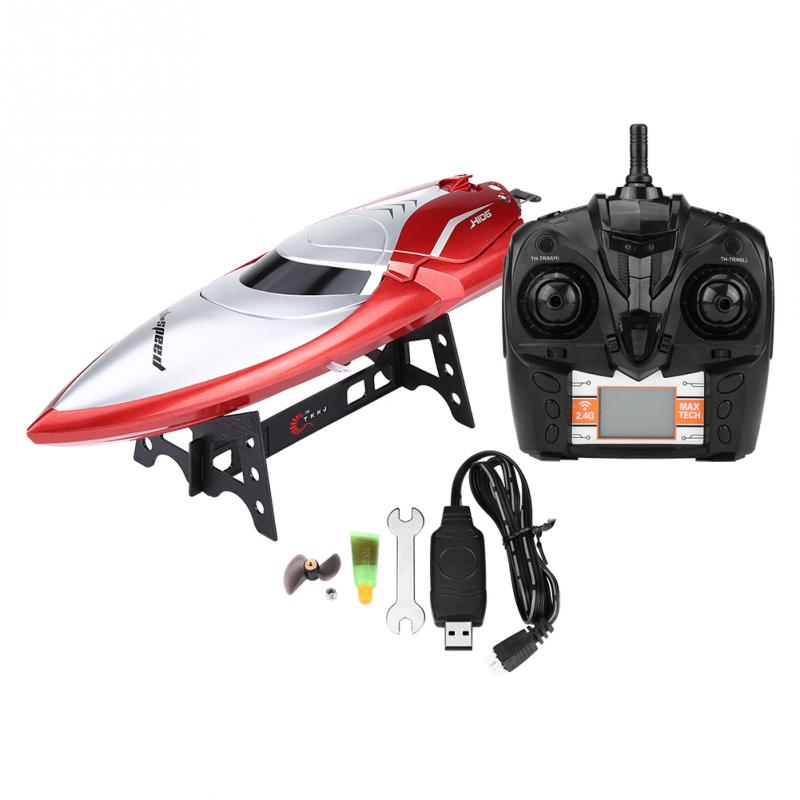 2.4GHz High Speed RC Boat Remote Control 26-28km/h RC Boat Racing 4 Channel Speedboat Model Toy Ship Gift Toys For Children Kids high quality high speed rc boat 13000 6ch mini radio control simulation series rc nuclear racing submarine model kids best gifts
