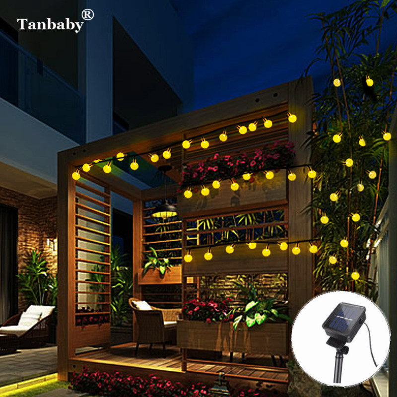6M 30LED Outdoor Solar Power Crystal Ball Globe string lights Fairy Eight Working mode Holidays decoration led string lamp