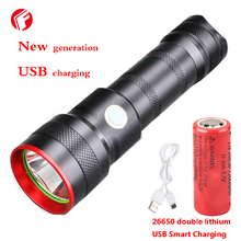 LED flashlight usb Rechargeable Cree xm-l t6 Hard Light Outdoor Camping Self Defense linterna led