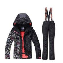 2019 высокое качество дамы лыжный костюм Сноуборд костюм 10 К водонепроницаемый ветрозащитный зима зимний костюм комплект + нагрудник теплые штаны съемная
