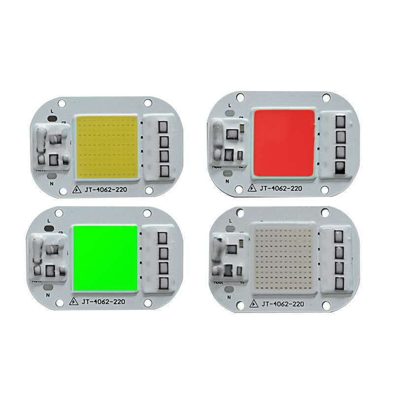 LED COB Chip Colorful 50W 30W 20W 110V 220V Smart IC Chip For DIY Spotlight Light Bead Red Bulb Green Yellow Warm And Cold White