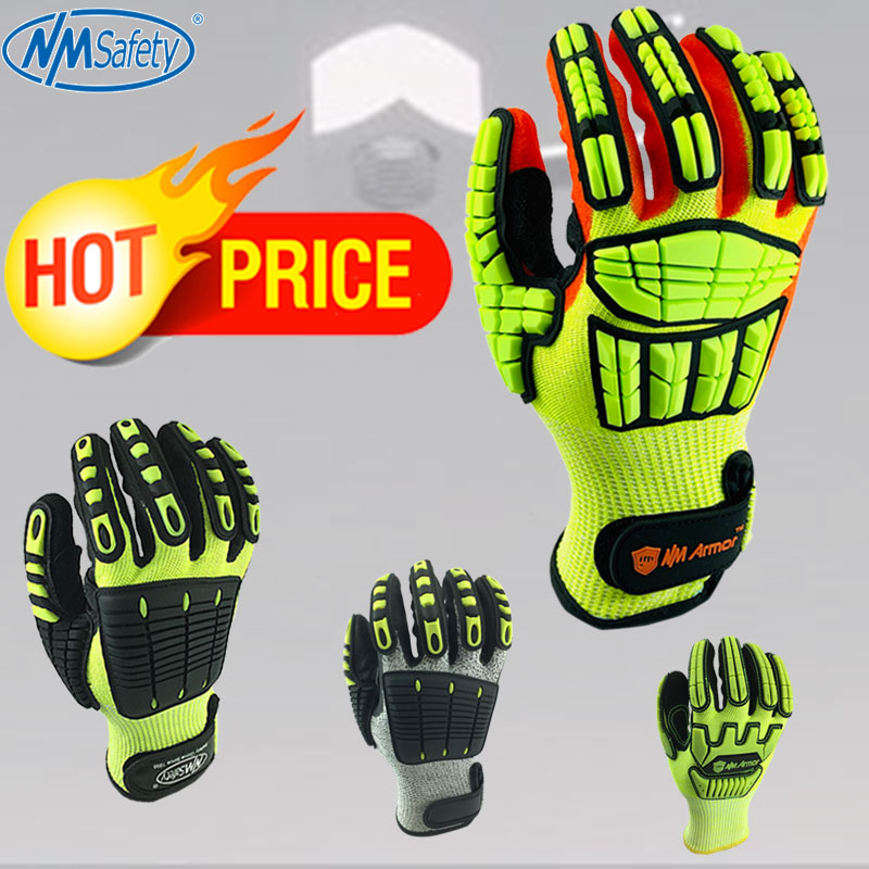 NMSafety 1 Pack ANSI A5 Anti Cut Work Glove With Cut Level 5 Liner Mechanic Anti-Impact Shock Absorbing Gloves.