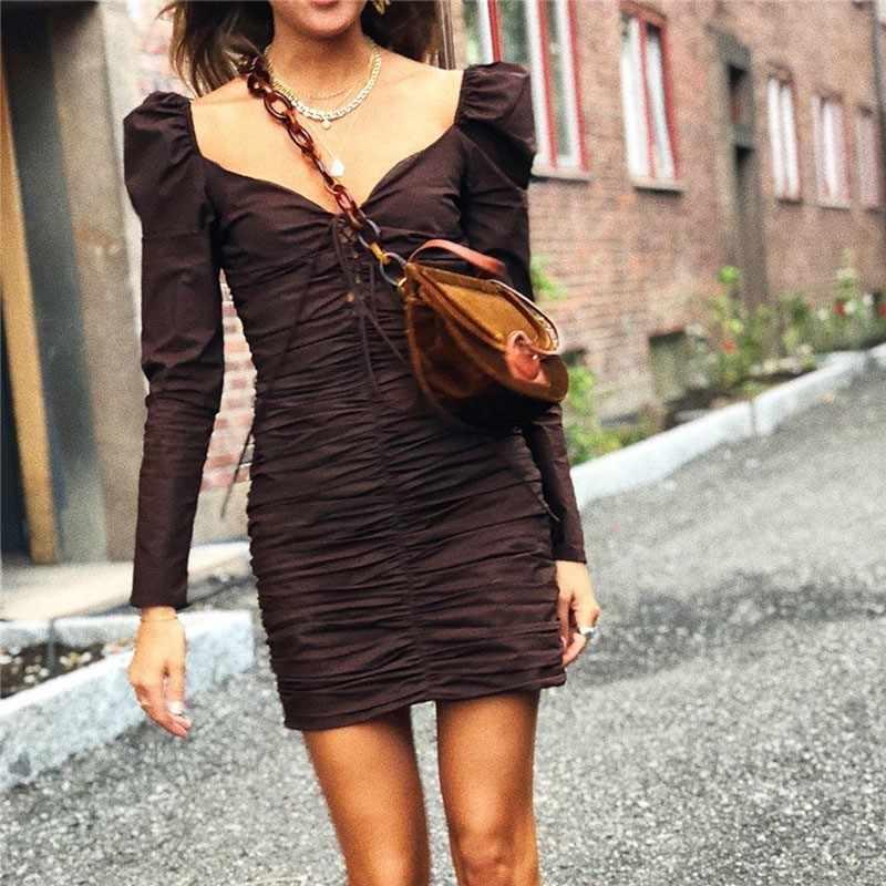 Лето, сексуальное платье с v-образным вырезом, женское платье с длинным рукавом, асимметричное ДРАПИРОВАННОЕ Бандажное платье с высокой талией, мини платья