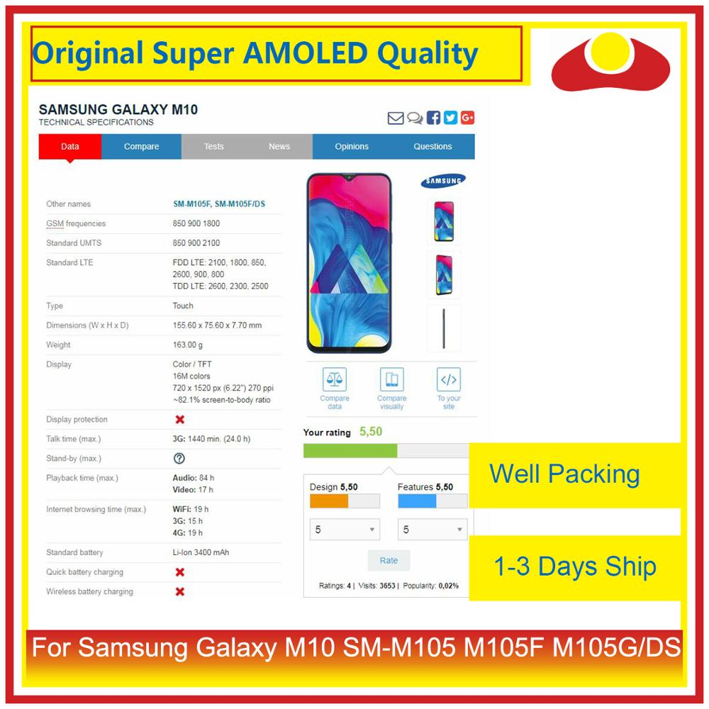 "Image 2 - Original 6.22"" For Samsung Galaxy M10 SM M105 M105F M105G/DS LCD Display With Touch Screen Digitizer Panel Pantalla Complete-in Mobile Phone LCD Screens from Cellphones & Telecommunications"