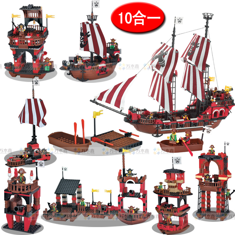 ФОТО WOMA J5694 953 pcs 10 in 1 Pirate Ship  Plastic Model Building Block Sets Educational DIY Bricks Toys Christmas gift for kids