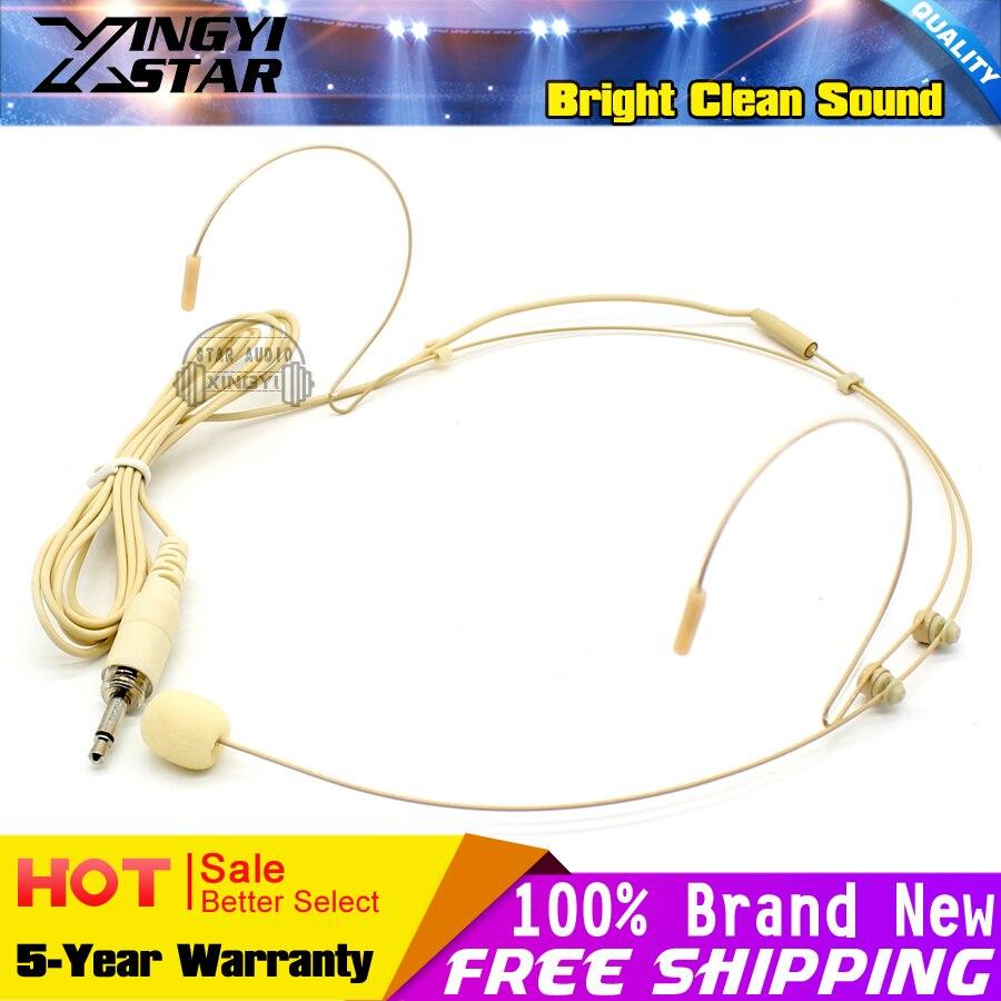 3.5mm Male Screw Thread Plug Dual Earhook Headworn Headset Microphone Headband Mic For FM Karaoke Wireless Bodypack Transmitter
