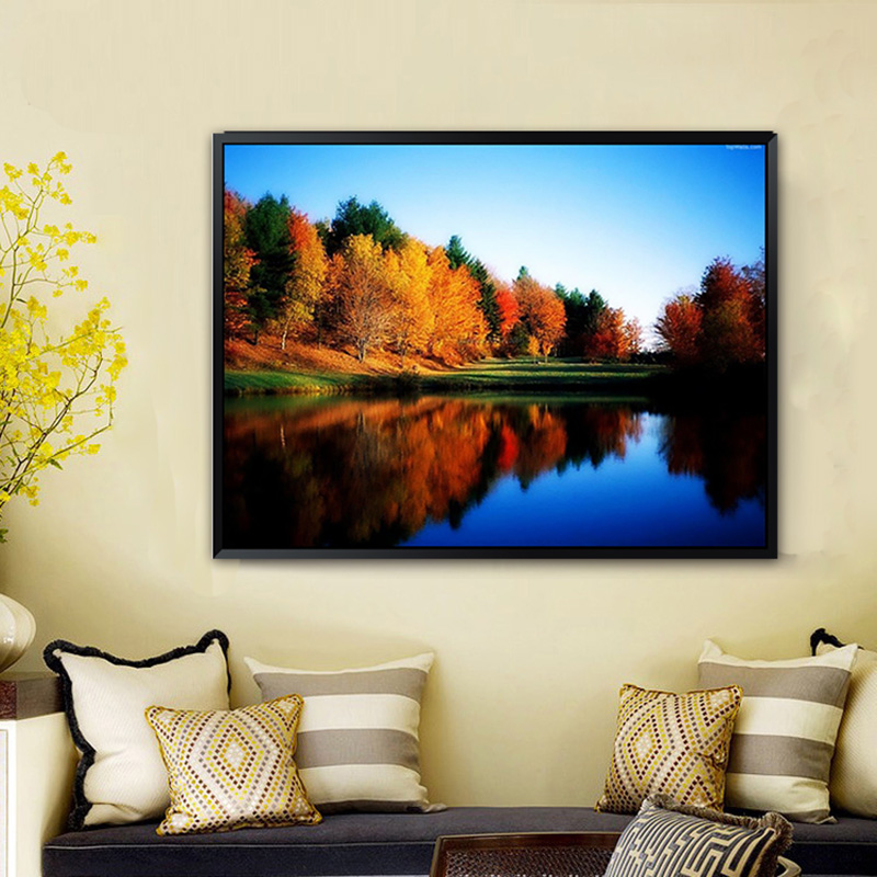 5D DIY Tree River Diamond Embroidery Painting Landscape Diamond Painting Lake Stitch Crystal Round Home Decor