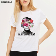 2019 Harajuku T shirt women Fashion Flowers Print Female T-shirt White Tee Cotton Summer Casual Tshirt Women Clothes Tops