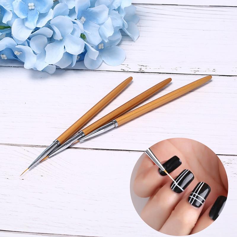 3Pcs Gold Nail Art Lines Painting Pen Brush Professional