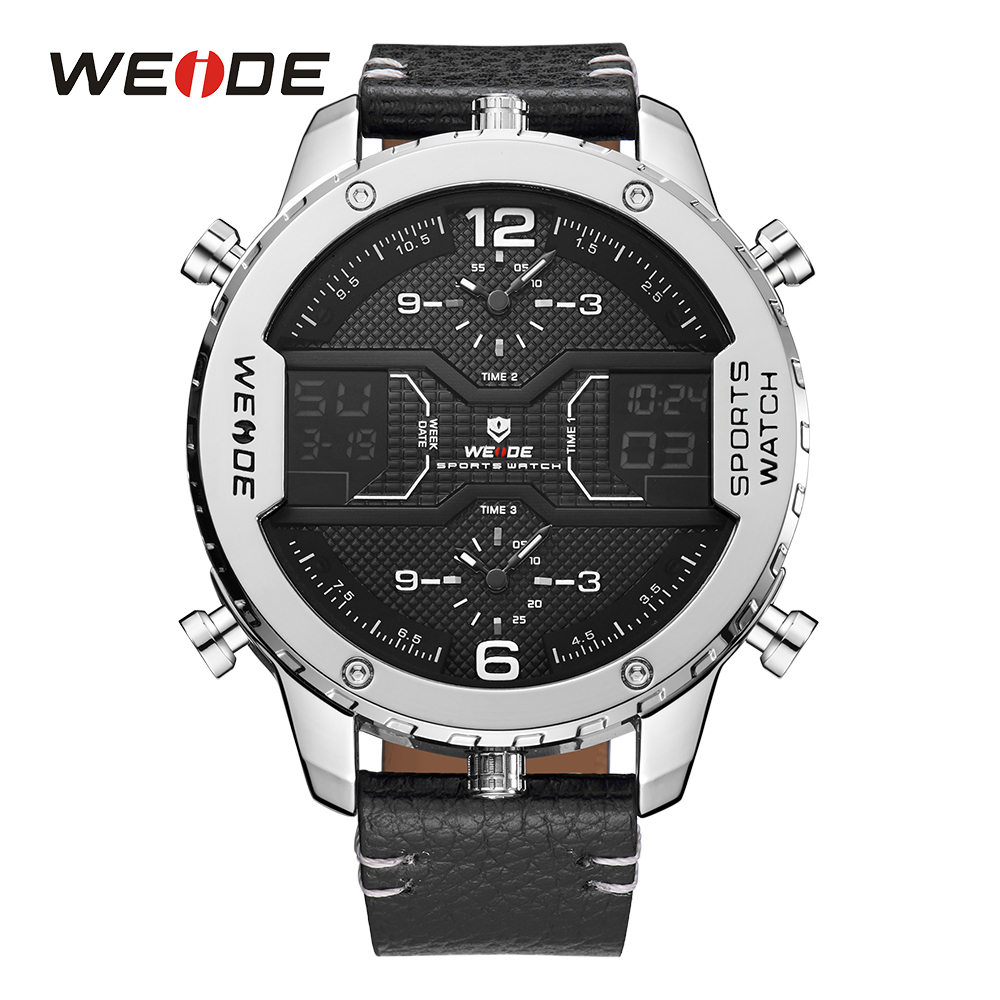 WEIDE Mens Sport Watch Multiple Time Zone Dual Time Display Digital Date Day Quartz Analog Black Leather Band Buckle Wristwatch weide casual genuin brand watch men sport back light quartz digital alarm silicone waterproof wristwatch multiple time zone
