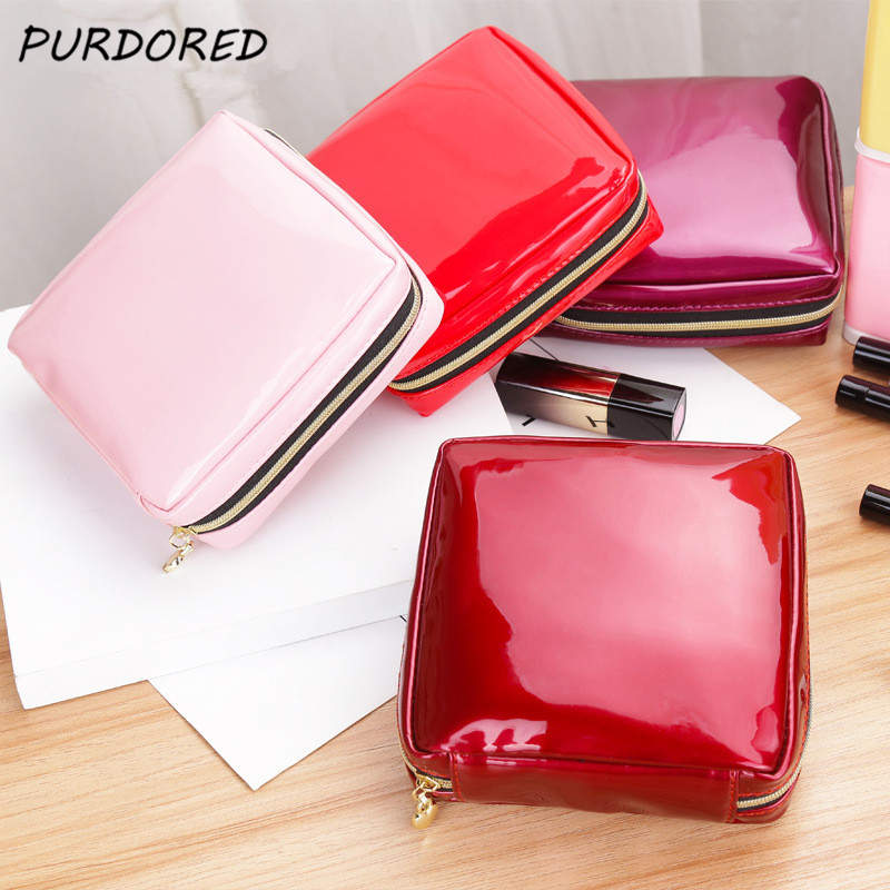 PURDORED 1 Pc Women Square Cosmetic Bag Patent Leather Zipper Make Up Female Travel Cosmetic Case Toilettas Dropshipping