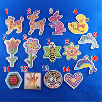 10 Piece Lot 5mm Diy Transparent Shape Puzzle Pegboard Hama Beads Template With Colore Paper Plastic