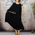 Негабаритных 2017 Весна Женщин Ретро пят Платье Свободные Повседневная С Длинным Рукавом Вышивка Твердые Макси Длинное Платье Платья Плюс размер