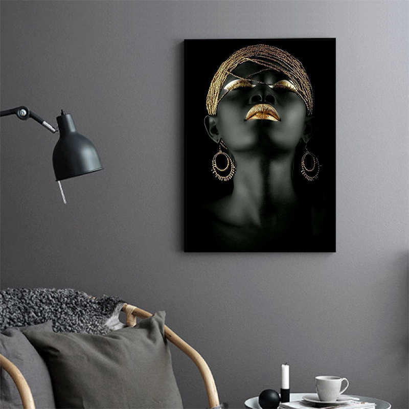 MUTU Canvas Painting Wall Art Pictures Prints Black Woman On Canvas No Frame Home Decor Wall Poster Decoration For Living Room