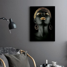 MUTU Canvas Painting Wall Art Pictures Prints Black Woman On Canvas No Frame Home Decor Wall Poster Decoration For Living Room(China)