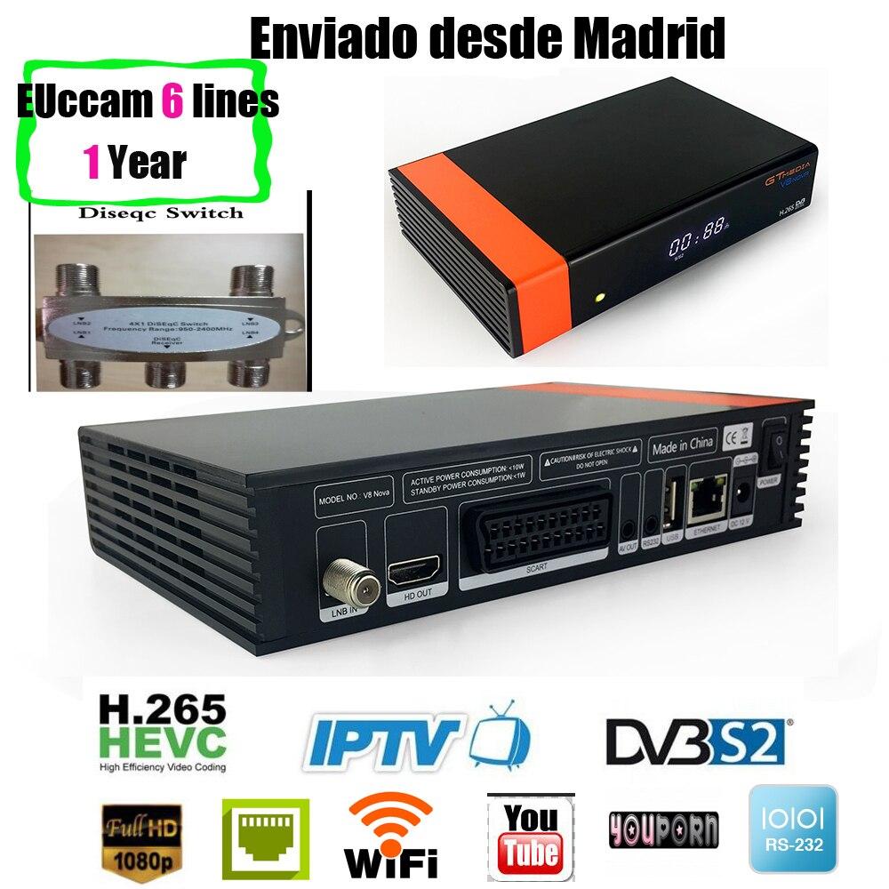 Gtmedia V8 NOVA+1 year ccam same as gt media v8 nova hevc satellite receiver Builtin wifi support H.265, AVS vs gtmedia v7s