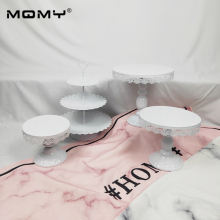4 Pcs Thin Disk Wedding Cupcake Set Dessert 3 Tier Wholesale Crystal Vintage Round Gold White Pink Metal Cake Stand