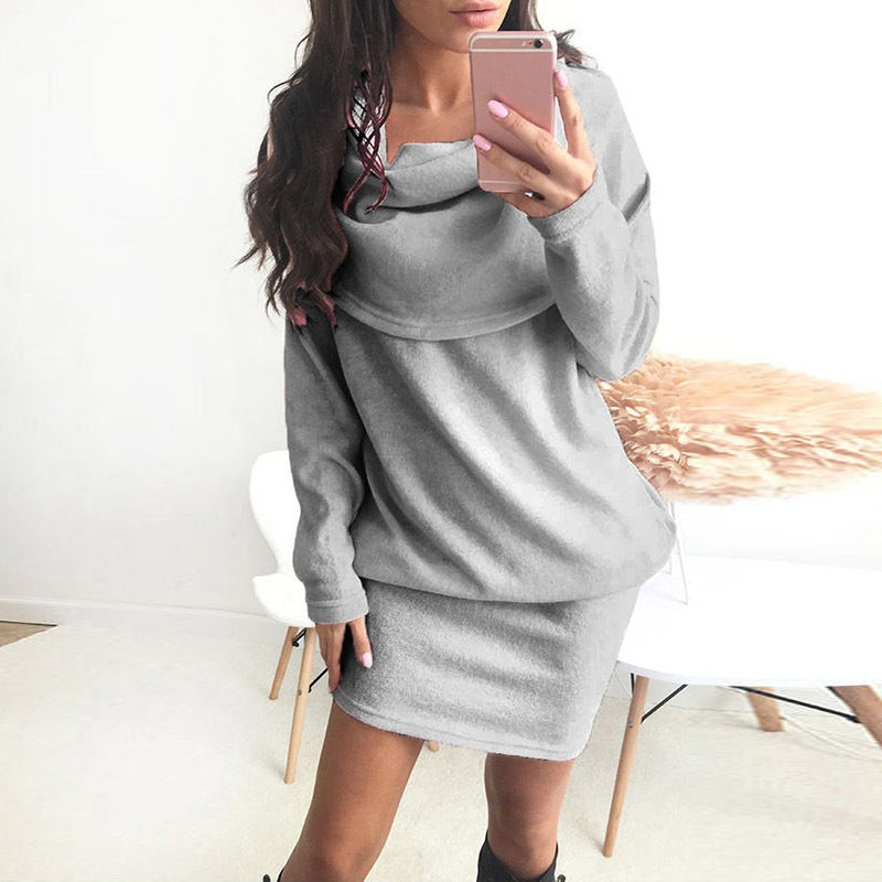 Casual Women Mini Dress Plain Solid Autumn Winter Sexy Casual Party Club Wear Long Sleeve Fold Collar Hoodie Dresses Vestidos