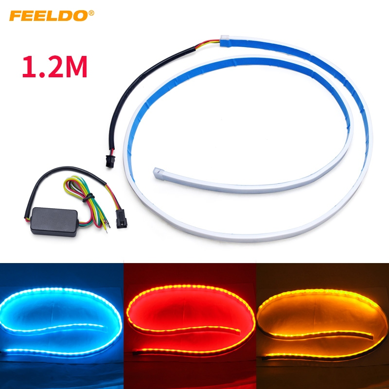 FEELDO 3 Color 1.2m Car Rear Tail Box Light Streamer Brake Turn Signal LED Strip DRL Light Tail Decoration Accessories #3035 car styling tail lights for toyota highlander 2015 led tail lamp rear trunk lamp cover drl signal brake reverse