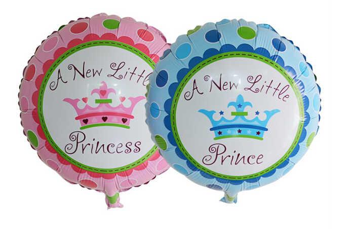 18 นิ้วรอบใหม่เจ้าหญิงน้อย & Prince ฟอยล์บอลลูนวันเกิดเด็กตกแต่งการ์ตูนมงกุฎรูปแบบบอลลูนฮีเลียม