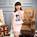 Summer New Baby Girls Two Pieces Kids Clothing Sets of Children's Printing Blue Pink Cotton