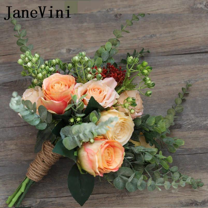JaneVini Vintage Champagne Rose Artificiali Wedding Flowers Bridal Bouquet Corda di Canapa Sposa Spilla Bouquet Bruids Boeket 2018