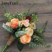JaneVini Vintage Champagne Mawar Buatan Bunga Pernikahan Bridal Bouquet Tali Rami Pengantin Bros Bouquets Bruids Boeket 2018