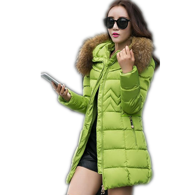 2017 Simple Winter Women Down Cotton Medium-Long Jacket Parka Female Hooded Fur Collar Slim Size S-3XL Outerwear Warm ParkaCQ521 футболка для беременных there is only a good mother 00031 2015