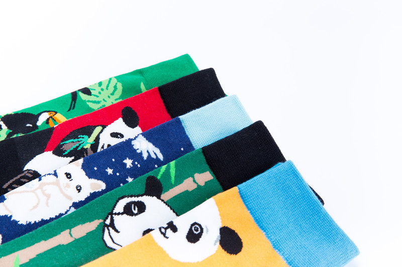 Peonfly Fashion Print Chinese Panda White Cat Bird Pattern Colorful Happy Socks Men Casual Ventilation Cotton Sock Autumn Winter Underwear & Sleepwears