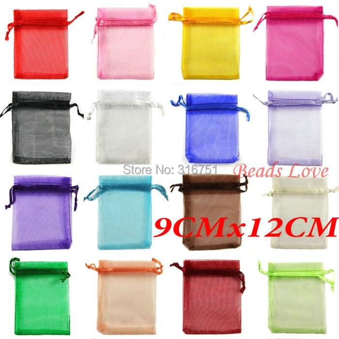 100pcs Mix Jewelry Packing Drawable Organza Bags Wedding 9cmx12cm AA(W03208)