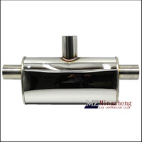 Exhaust Pipe Car Muffler Polished Stainless Steel Burned Blue Silencer 2.0inlet to 3outlet Exhaust Tip System