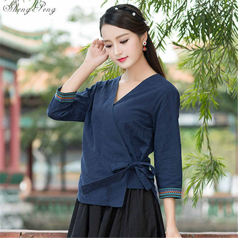 Traditionele chinese kleding voor vrouwen casual losse tops blouse chinese markt online traditionele chinese shirt top Q321