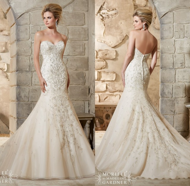 Sparkle Beaded Luxuriant Pearls Ivory Mermaid Wedding Dress Cheap ...