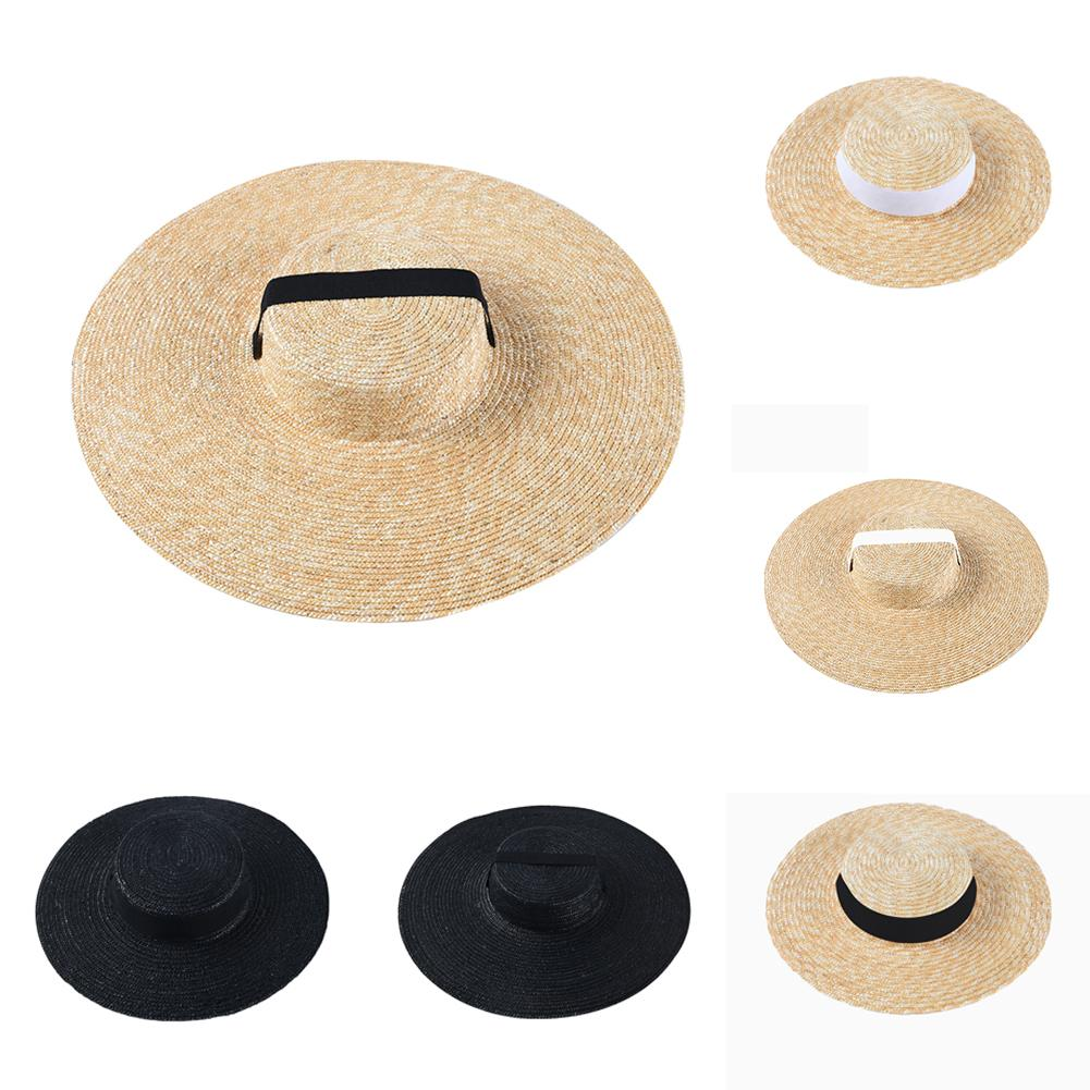 Wide Brim Boater Hat 10cm 15cm Brim Straw Hat Flat White Black Ribbon Tie Sun Hat Beach Cap For Women In Summer Sunshade Cap New