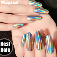 Moglad 1g Box Holographic Powder Top Quality Rainbow Pigment Unicorn Powder Hologram Mica Nail Glitter Decorations
