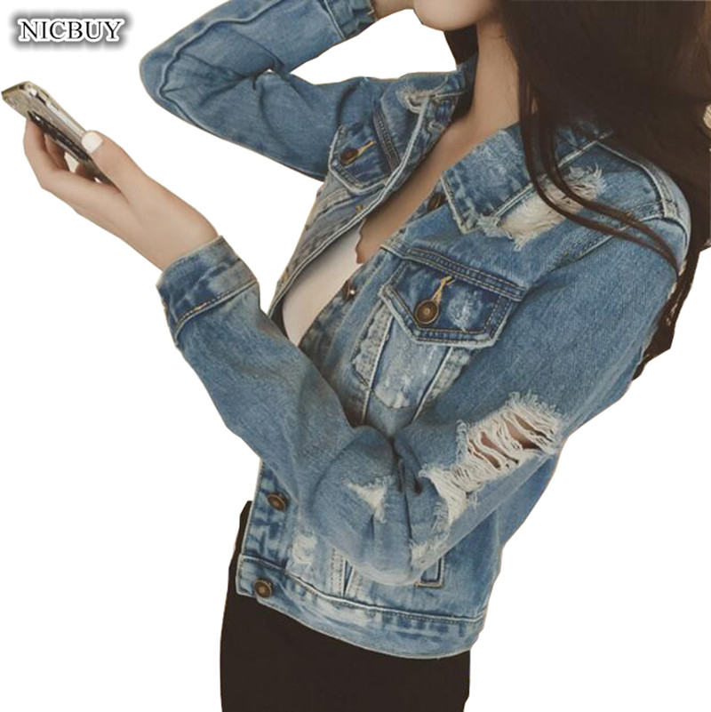 Fashion Spring Autumn Women Jeans Jacket Denim Coat Casual Outerwear Tops Long Sleeve Frayed Vintage Jeans Coat Size S-XL