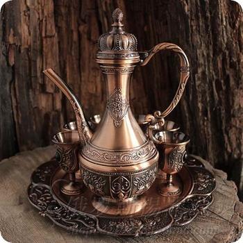 European tin bronze copper handicraft decoration decoration tin vintage wine set wine glass tray