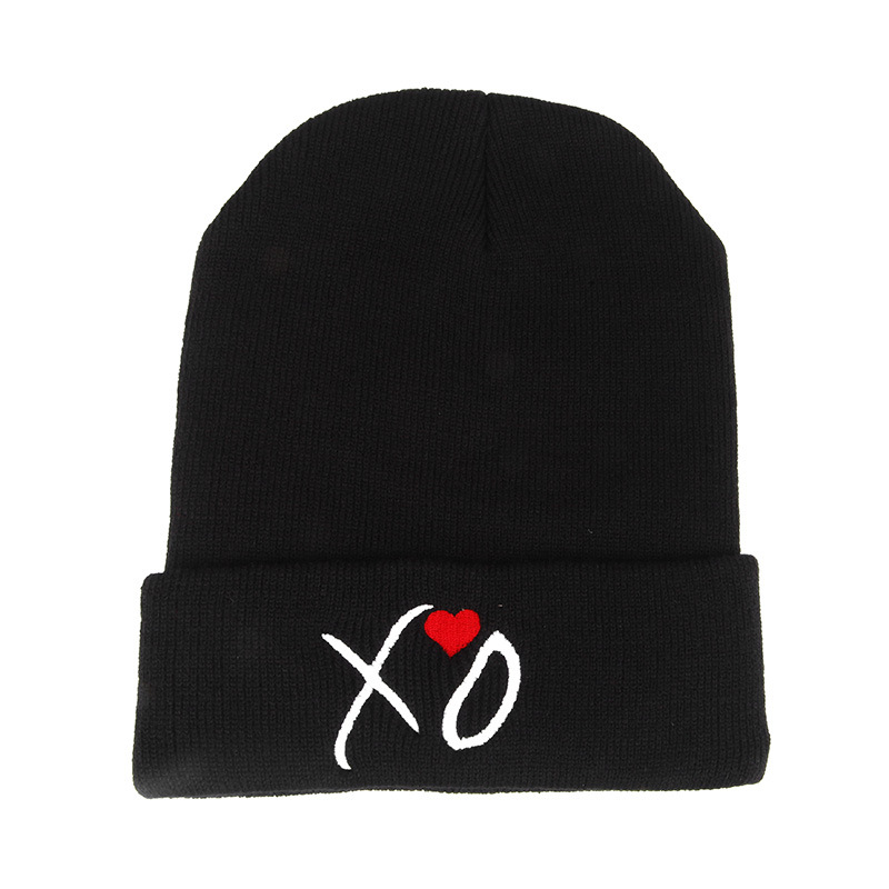2017 New Fashion Unisex-adult Style Casual XO Words Cotton Wool Hip-hop Version Hood Knitting Hat One Size Solid Black Only the new children s cubs hat qiu dong with cartoon animals knitting wool cap and pile