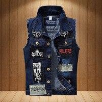Newest patchwork denim vest men women fashion rock vest with Patch Designs Brand Designer Motorcycle Waistcoat for Male Hip Hop