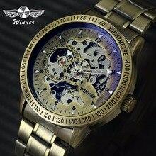 Победитель 2019 Мода часы в стиле милитари Для мужчин Авто Механическая Скелет циферблат из меди и нержавеющей стали мужские часы на ремне лучший бренд класса люкс