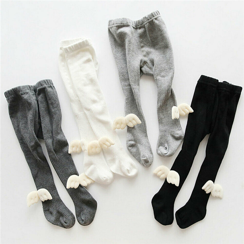 Newborn Infant Baby Girl Pantyhose With Wings Baby Tights Leggings Pure Color Stockings Slim Leggings Lovely Girls Tights