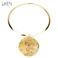 UKEN Brand Fashion Torques Cheap Collar Choker Necklace For Women Big Metal Wire Pendants Necklaces Statement Jewelry(China)