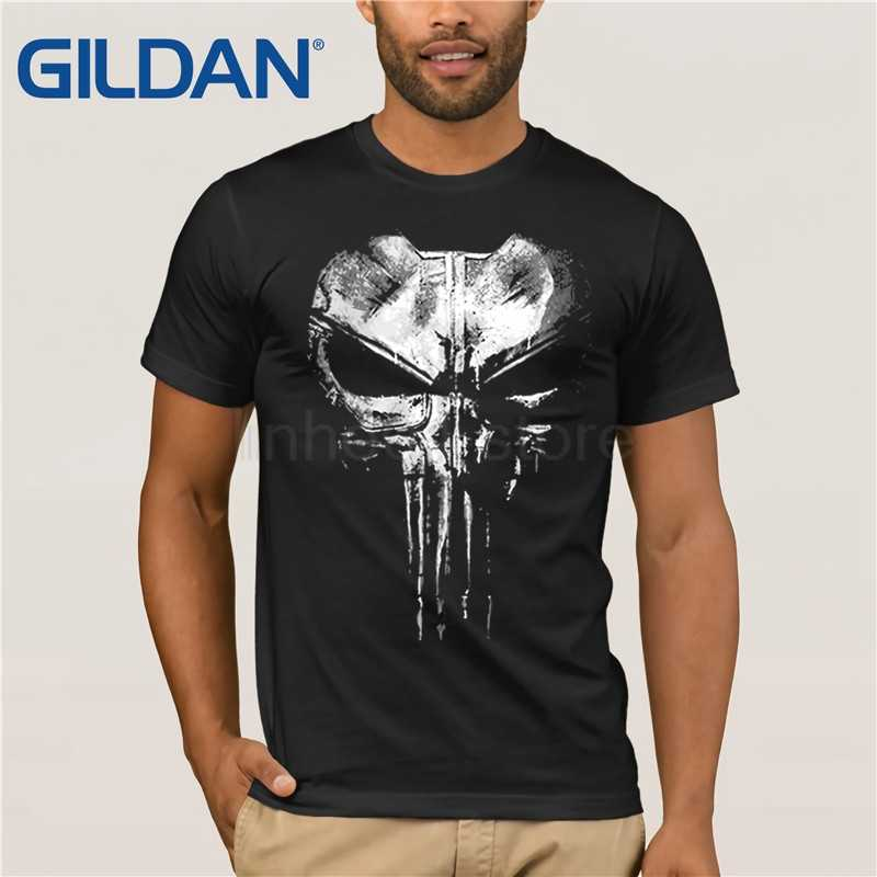 The Punisher Skull Ghost T-shirt Men Black 100% cotton Summer Casual Tees movie mens t shirt male top Tshirt -large-sized