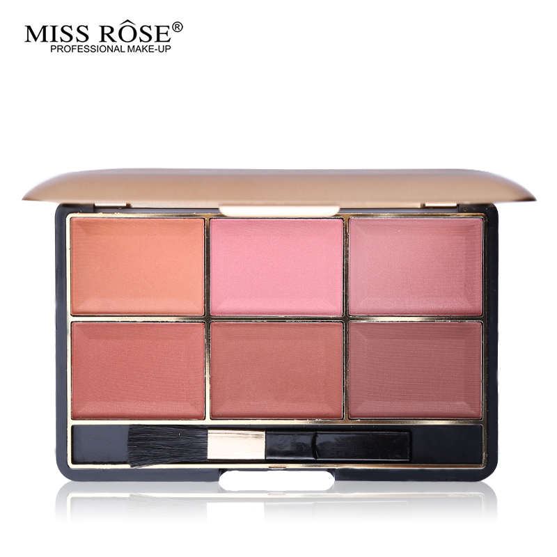 Miss Rose Blusher Makeup 6 Color Cheek Bronzer Blush Natural Minerals Face Base Blush Palette Powder Contouring Make Up Kit Tool